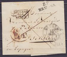 "L. Datée 15 Juillet 1831 De BRUGES Càd BRUGES /15 JUIL 1831 Pour SEVILLE Espagne - Griffes ""P.P./ BRUGES"", ""L.P.B.2.R."" - 1830-1849 (Independent Belgium)"