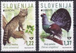 SLOVENIA  2021,NEW,28.5,EUROPA CEPT,ENDANGERED NATIONAL WILDLIFE,,BIRDS,CAT,MNH - Slovenia