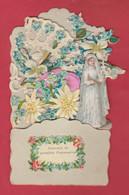 Souvenir De Première Communion ...  Joli Découpi ... Communiante , Fleurs - 1  ( Voir Verso ) - Communion