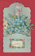 Souvenir De Première Communion ...  Joli Découpi ... Communiante , Fleurs - 2  ( Voir Verso ) - Communion