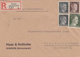Einschreiben Singen Hohentwiel Nach Karlsruhe 1943 - Non Classés