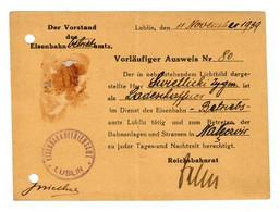 GG Ostbahn: Vorläufiger Ausweis Ladeschaffner Lublin, November 1939, Früh - Bezetting 1938-45