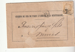 Lettre Avec Type Cérès Bordeaux N°43B, Teinte Pâle, Chemin De Fer De Paris à Lyon Et à La Méditerranée, 1871 - 1870 Bordeaux Printing