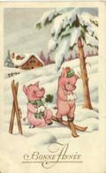 Illustrateur 2 Petits Cochons Amoureux En Ski Bonne Année RV - Pigs