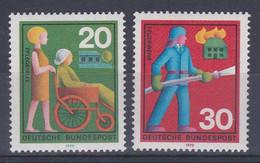 Allemagne RFA 1970 491-92 ** Services De Secours Volontaires Aide Aux Handicapés Pompier - Primeros Auxilios
