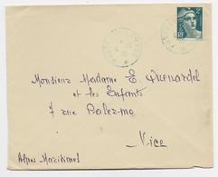 FRANCE GANDON 2FR LETTRE CACHET VIOLET POSTE AUX ARMEES 4.12.1945 + MENTION AU DOS HANOI INDOCHINE - 1945-54 Marianna Di Gandon