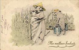 Illustrateurs Cochons Humanisés Jardiniers Pionnière  Mes Meilleurs Souhaits RV - Pigs