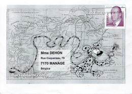 Superbe Enveloppe Marsupilami Avec Carte De La Forêt Palombienne - Non Classificati