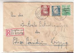 Allemagne - Occupation Alliés - Zone Soviétique - Lettre Recom De 1949 - Oblit Burghausen - Exp Vers Leipzig - - Soviet Zone