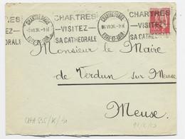 N° 283 LETTRE MEC KRAG CHARTRES VISITEZ SA CATHEDRALE CHARTRES GARE 6. VII.36 EURE ET LOIR - Mechanical Postmarks (Advertisement)