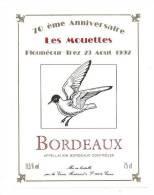 Etiquette De Vin De Bordeaux -  Cuvée 70 èm Anniversaire  Les Mouettes Plounéour Trez   23/  08/92 - Thème Oiseau - Unclassified