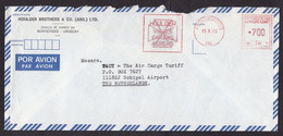 Uruguay: Airmail Cover To Netherlands, 1983, Meter Cancel, Houlder Brothers Air Transport Company (damaged) - Uruguay