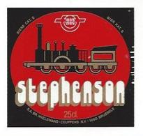 Etiquette De  Bière -  Stéphenson  -  Brasserie Wielemans Ceuppens  à  Bruxelles  (Belgique) - Thème Train - Beer
