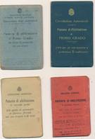 1914/45 LOTTO DI 8 PATENTI GUIDA COMPLETE DI COPERTINA FOTO E FOGLIETTI DIVERSE PER TIPOLOGIA E STEMMI - Non Classificati