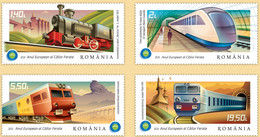 ROMANIA 2021: RAILROAD YEAR 4 Mint Stamps Set  - Registered Shipping! Envoi Enregistre! - Treni