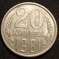 RUSSIE - RUSSIA - 20 KOPECKS 1981 - 15 Rubans - KM 132 - КОПЕЕК - Rusland