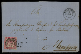 """TREASURE HUNT [01719] Baden 1870s Front Cover From Waldshut To Mannheim Bearing 3kr Rose W/ Clear """"153"""" Numeral Pmk. - Baden"""