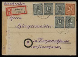 TREASURE HUNT [01730] Allied Occupation 1946 Reg. Cover Sent From Berlin Bearing Numerals 12 Pf Gray (x5)+ 24 Pf Brown - Zona AAS