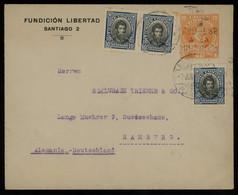 TREASURE HUNT [01732] Chile 1930s 20c Orange Post Card Sent To Hamburg, Germany Up-rated W/ O`Higgins 10c Pair + Single - Cile