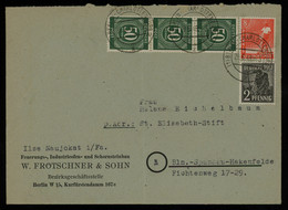 TREASURE HUNT [01734] Allied Occupation 1948 Cover Bearing Numerals 50 Pf Green Vert. Strip Of 3+8Pf Orange+2 Pf Black - Zona AAS