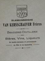 Enveloppe Brasserie Distillerie VAN KERSSCHAEVER Blankenberghe Blankenberge Brouwerij - Invoices