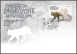 Poland 2021 Europa - Endangered Animals, Lynx, Wild Animal, Species, Forest, Environment /  FDC New!!! - Protezione Dell'Ambiente & Clima