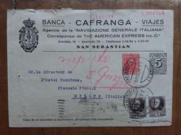 SPAGNA - Intero Postale Spedito In Italia Anni '30 - Annullo Retro (piegato) + Spese Postali - 1931-....