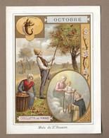 IMAGE PIEUSE.. OCTOBRE. Mois Du St ROSAIRE ( St DOMINIQUE).. Cueillette Des POMMES, Signe Astrologique SCORPION - Images Religieuses