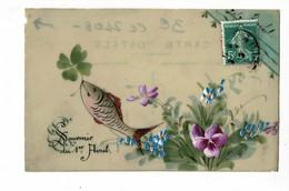 """Carte Celluloid Peinte Manuellement """"Souvenir Du 1er Avril (poisson Et Fleurs) Circulé 1913 Sous Enveloppe à Trou - 1er Avril - Poisson D'avril"""