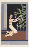 Illustratori - Meschini - Donna Con Albero Di Natale - F. Piccolo - Scritta - Molto Bella- Dipinta A Mano - Other Illustrators