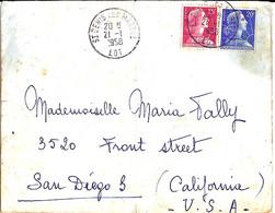 TYPE MARIANNE DE MULLER N° 1011/1011B SUR L. DE ST DENIS LES MARTEL / 21.1.58 POUR LES USA - 1955- Marianne De Muller
