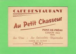 (200)  Carte  PUB  Cerdon  Café Restaurant  Au Petit Chasseur Pont De Préau  12 X 8 Cm - Other Municipalities