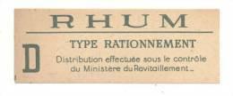 Etiquette De   Rhum  Type Rationnement - Rhum