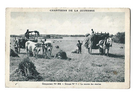 CHANTIERS DE LA JEUNESSE - Groupement 34 Groupe 9 Le Rentrée Des Récoltes Animé Attelage  Petit Défaut Dos Sinon Bon - Guerre 1939-45