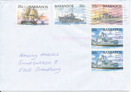 Barbados Cover Sent To Denmark 15-12-1998 Topic Stamps SHIPS - Barbados (1966-...)