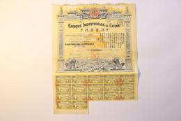 1 Action De 500 F - Banque Industrielle De CHINE - Paris, 1920 - Bank En Verzekering