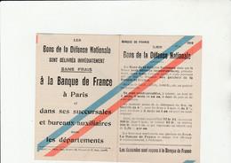 LES BONS DE LA DÉFENSE NATIONALE BANQUE DE FRANCE PARIS (75) - Buoni & Necessità