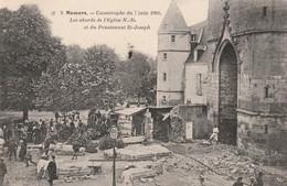 72 -MAMERS . CATASTROPHE DU 7 JUIN 1904 .LES ABORDS DE L'EGLISE N.D. ET LE PENSIONNAT ST JOSEPH SCANS RECTO VERSO - Mamers