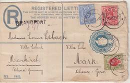 "ORANGE RIVER  : ENTIER POSTAL .  REC . AVEC COMPlt D'AFFRt . "" BRANDFORT "" . POUR L'ALSACE OCCUPEE . 1910 . - Oranje-Freistaat (1868-1909)"