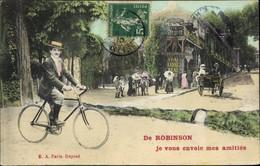 CPA Robinson Hauts-de-Seine, Je Vous Envoie Mes Amitiés, Radfahrer - Autres Communes