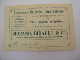Carte  Visite Publicitaire Brasserie Malterie Cambrèsienne Morand Bidault & Cie Cambrai (59) - 1940 - SUP (FP 1) - Cafes