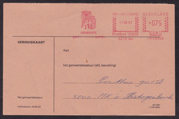Netherlands: Cover, 1987, Meter Cancel, Municipality Of Sint-Michielsgestel, Saint Michael, Heraldry (traces Of Use) - Lettres & Documents