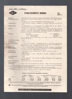 établissements BANANIA  Fiche De Situations Légale Et Financière  Avril 1929 (PPP31587) - 1900 – 1949