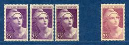 ⭐ France - Variété - YT N° 731 - Couleurs - Pétouilles - Neuf Sans Charnière - Droite Avec Charnière - 1945 ⭐ - Varieties: 1945-49 Mint/hinged