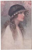 Illustrateur : à Identifier : Portrait De Femme à Cheveux Longs - Chapeau ( Italie ) - Autres Illustrateurs