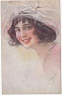 Illustrateur : à Identifier : Portrait De Femme Souriante à Chapeau ( Italie ) - Autres Illustrateurs