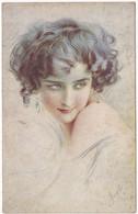 Illustrateur : à Identifier : Portrait De Femme Timide Sexy ( Italie ) - Autres Illustrateurs