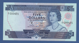 "SOLOMON ISLANDS -""Elizabeth II"" Issue - P.6a –  5 Dollars ND (1977) UNC Prefix A/I 000431 Low Number - Isola Salomon"