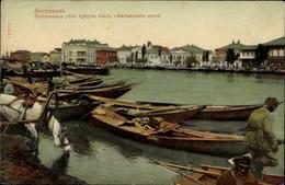 CPA Astrachan Russland, Flusspartie, Blick Auf Den Ort, Boote - Russia