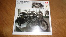 S A MOTOR SPORT 500 Side Car 1925 Suisse Switzerland Moto Fiche Descriptive Motocyclette Motos Motorcycle Motocyclette - Sin Clasificación